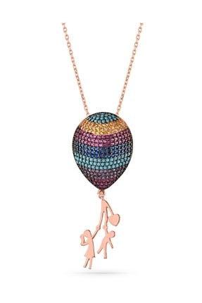 MySilvers Tasarım Üç Boyutlu Gümüş Balon Kolye Kadın Rose Zirkon 0