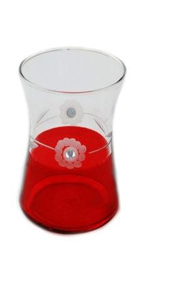 BAŞAK Heybeli Kırmızı(taşlı) Papatya Dekor 6 Adet Çay Bardağı 1
