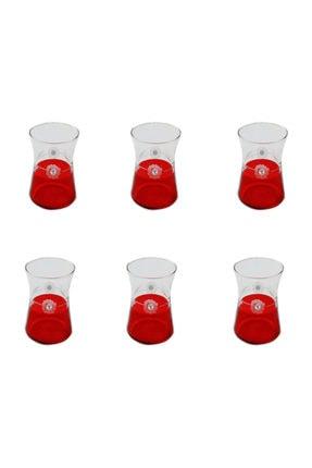 BAŞAK Heybeli Kırmızı(taşlı) Papatya Dekor 6 Adet Çay Bardağı 0