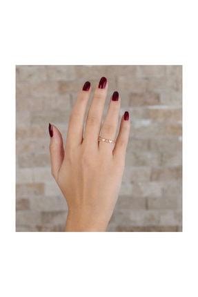 Tesbihane Zirkon Taşlı Sıralı Kalp Tasarım Rose Renk 925 Ayar Gümüş Bayan Yüzük 2