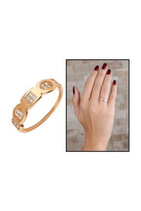 Tesbihane Zirkon Taşlı Geometrik Tasarım Rose Renk 925 Ayar Gümüş Bayan Yüzük 1
