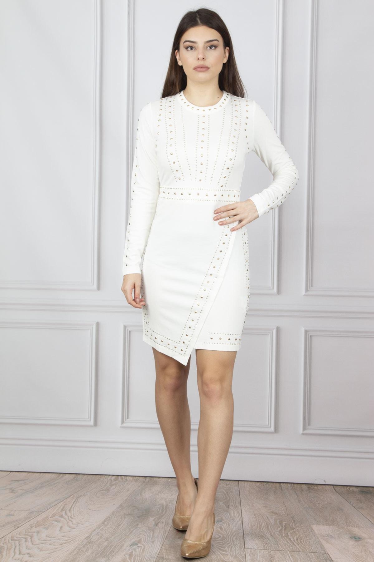 Şans Kadın Kemik Ön Ve Kollar Taş İşli Elbise 26N8233