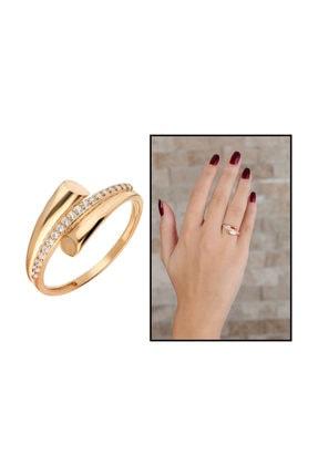 Tesbihane Zirkon Taşlı Helezon Tasarım Rose Renk 925 Ayar Gümüş Bayan Yüzük 2