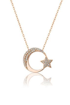 Papatya Silver 925 Ayar Rose Altın Kaplama Gümüş Ay Yıldız Kolye 0