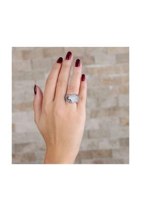Tesbihane 925 Ayar Gümüş Zirkon Taş İşlemeli Özel Tasarım Bayan Yüzük 102001339 2