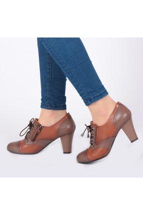 Pretty Fermuar Ve Bağcıklı Taba Renk Kadın Ayakkabı 2