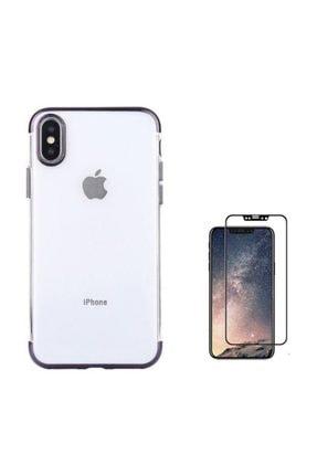 Teleplus Iphone Xs Kılıf Kenarı Renkli Desenli Silikon  + Tam Kapatan Cam 0