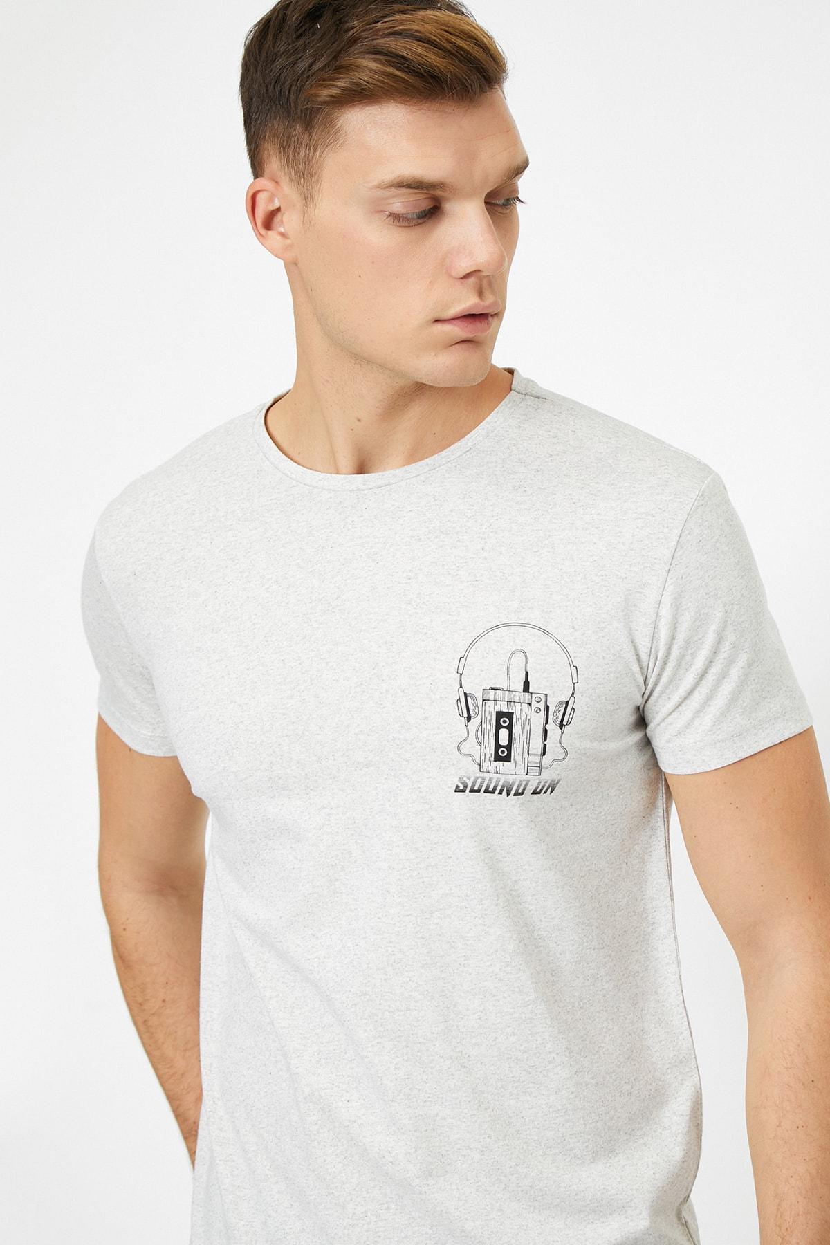 Koton Erkek Gri Yazili Baskili T-Shirt 0YAM14971OK