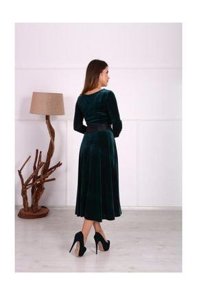 giyimmasalı Kadife Midi Tasarım Büyük Beden Elbise - Zümrüt Yeşil 1