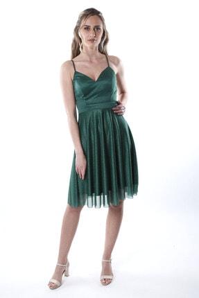 Kadın Zümrüt Yeşili Tül Abiye Elbise 1ABTB4156OY