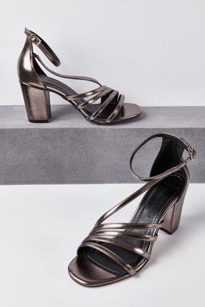 Picture of Kadın Antrasit Rengi Önü Açık Dolgu Topuklu Abiye Ayakkabı ISABEL