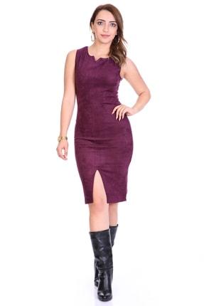 Kadin Mor Yırtmaçlı Süet Elbise ARM-20K095013