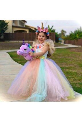 Unicorn Kız Çocuk Unicorn Tarlatanlı Tütü Elbise Kostüm Taç Hediyeli 0