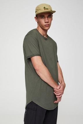 Pull & Bear Erkek Haki Uzun Basic T-Shirt 05234513 1