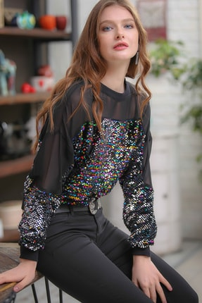 Chiccy Retro Omuzları Mesh Detaylı Mix Renkli Pul Payet Işlemeli Bluz 1
