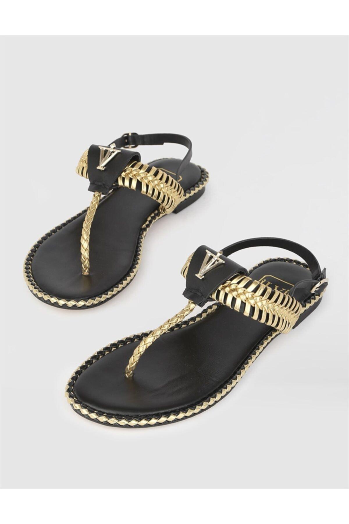 Kadın Altın Hakiki Deri Sandalet