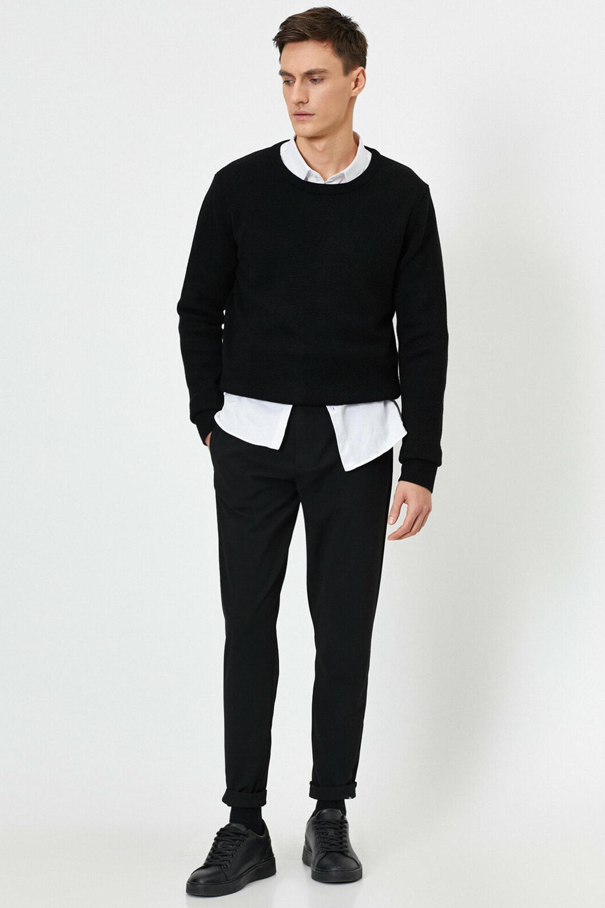 Erkek Beli Baglamali Lastikli Rahat Fit Pantolon