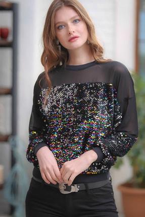 Chiccy Retro Omuzları Mesh Detaylı Mix Renkli Pul Payet Işlemeli Bluz 2