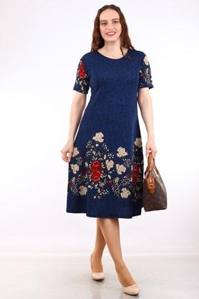 Alesia Kadın Lacivert Çiçek Desenli Kısa Kol Krep Elbise MHMT2020-410 0