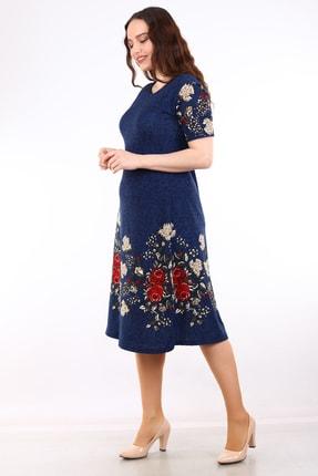 Alesia Kadın Lacivert Çiçek Desenli Kısa Kol Krep Elbise MHMT2020-410 2