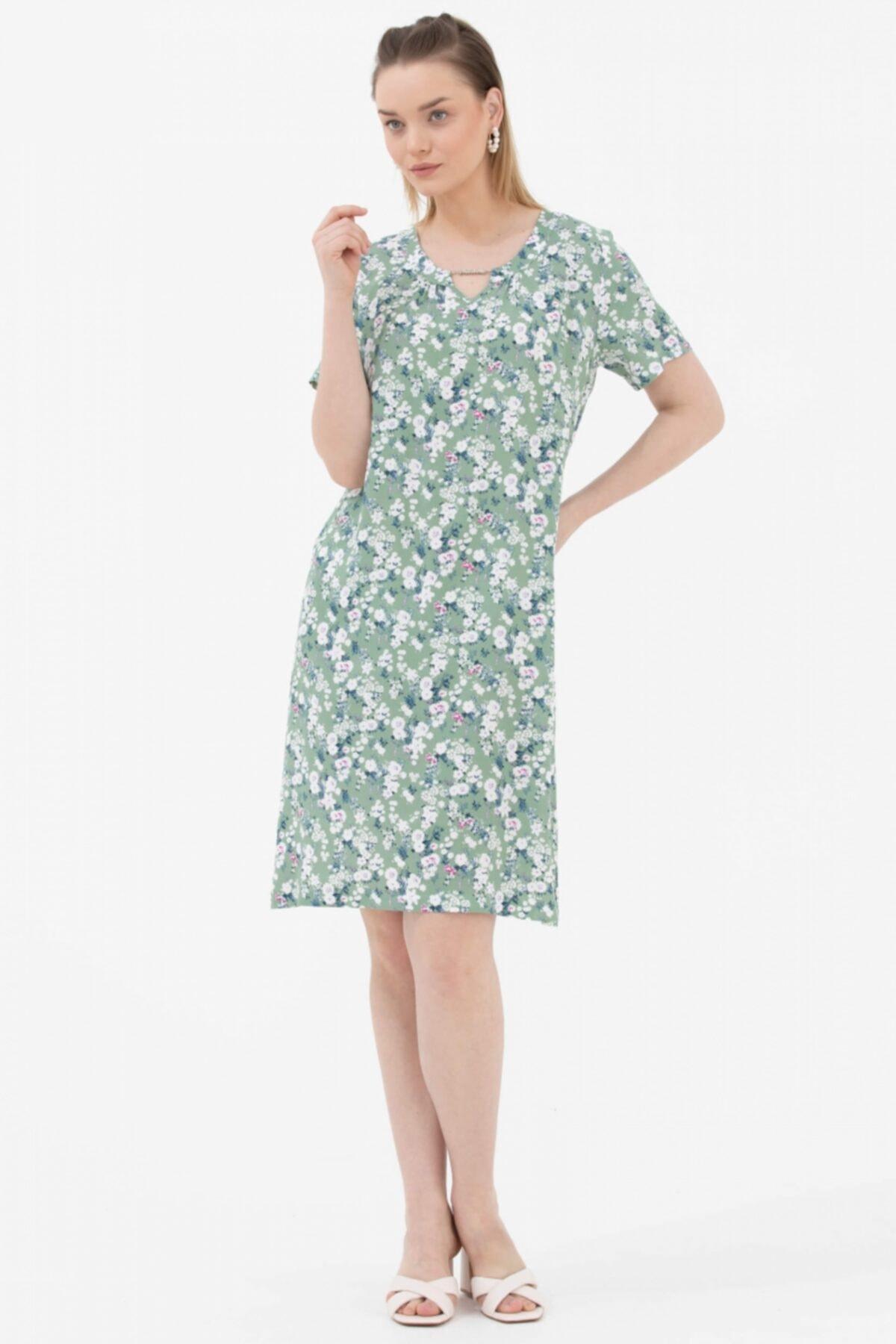 Kadın Çiçek Desenli Rahat Kalıp Elbise