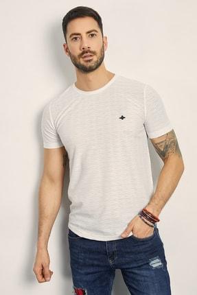 Sateen Men Erkek Beyaz Bisiklet Yaka Basic T-Shirt 144-7239 1