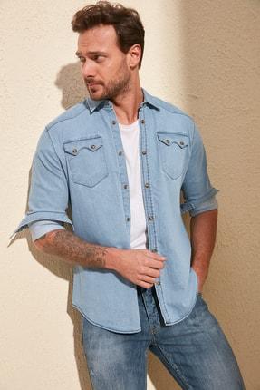 TRENDYOL MAN Mavi Erkek Likralı Kalın Cep Şeritli Regular Fit Denim Gömlek TMNSS20GO0106 0