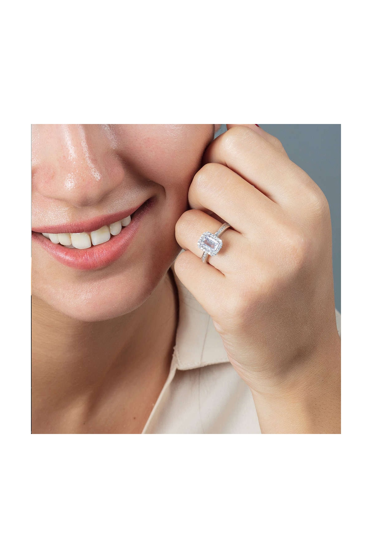 Tesbihane Starlight Diamond Pırlanta Montür Zarif Tasarım 925 Ayar Gümüş Bayan Baget Yüzük 102001798 2