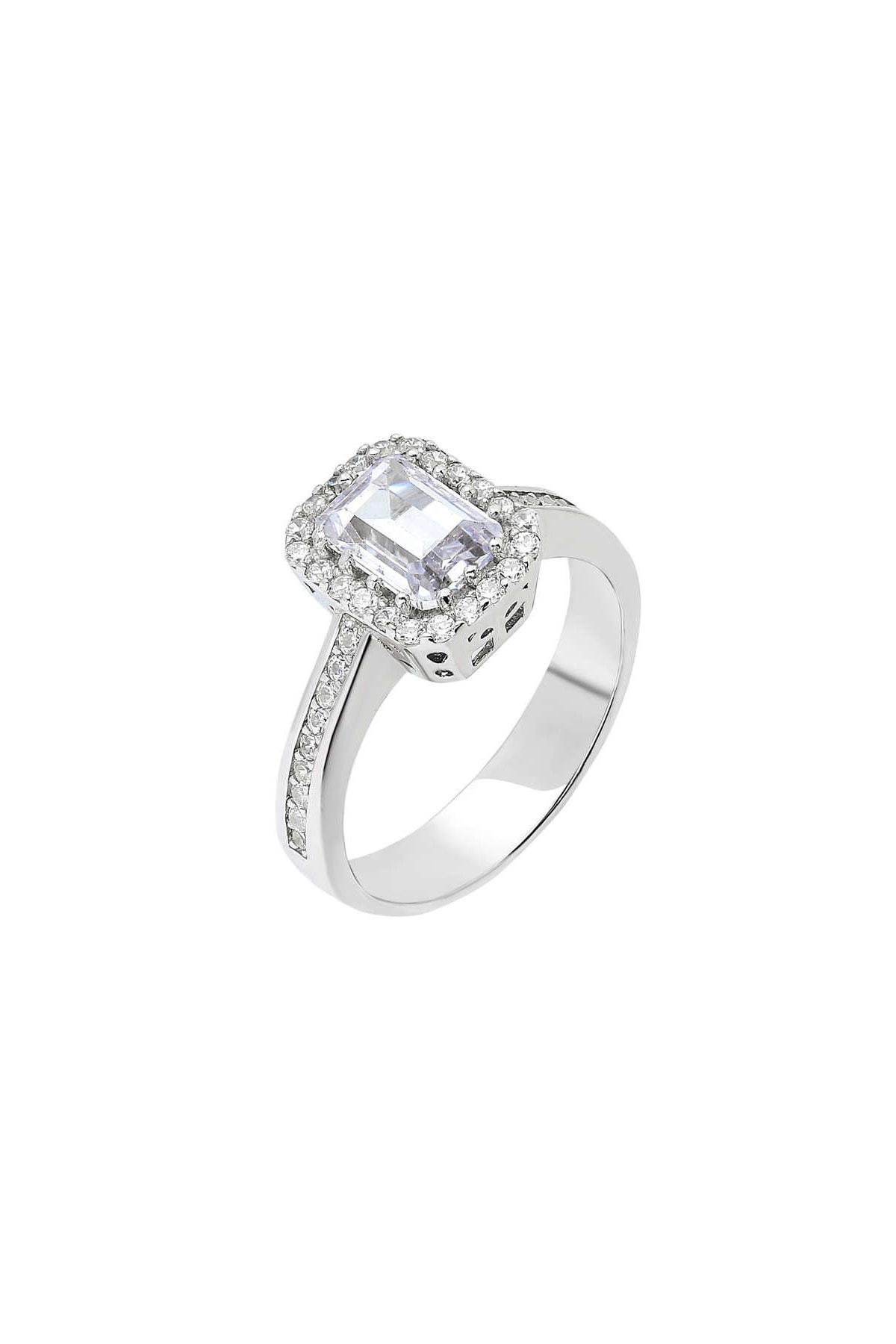 Tesbihane Starlight Diamond Pırlanta Montür Zarif Tasarım 925 Ayar Gümüş Bayan Baget Yüzük 102001798 3