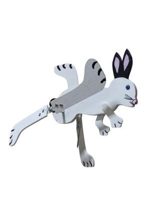 Rüzgaristan Mini Ahşap Rüzgar Gülü Beyaz Tavşan 0