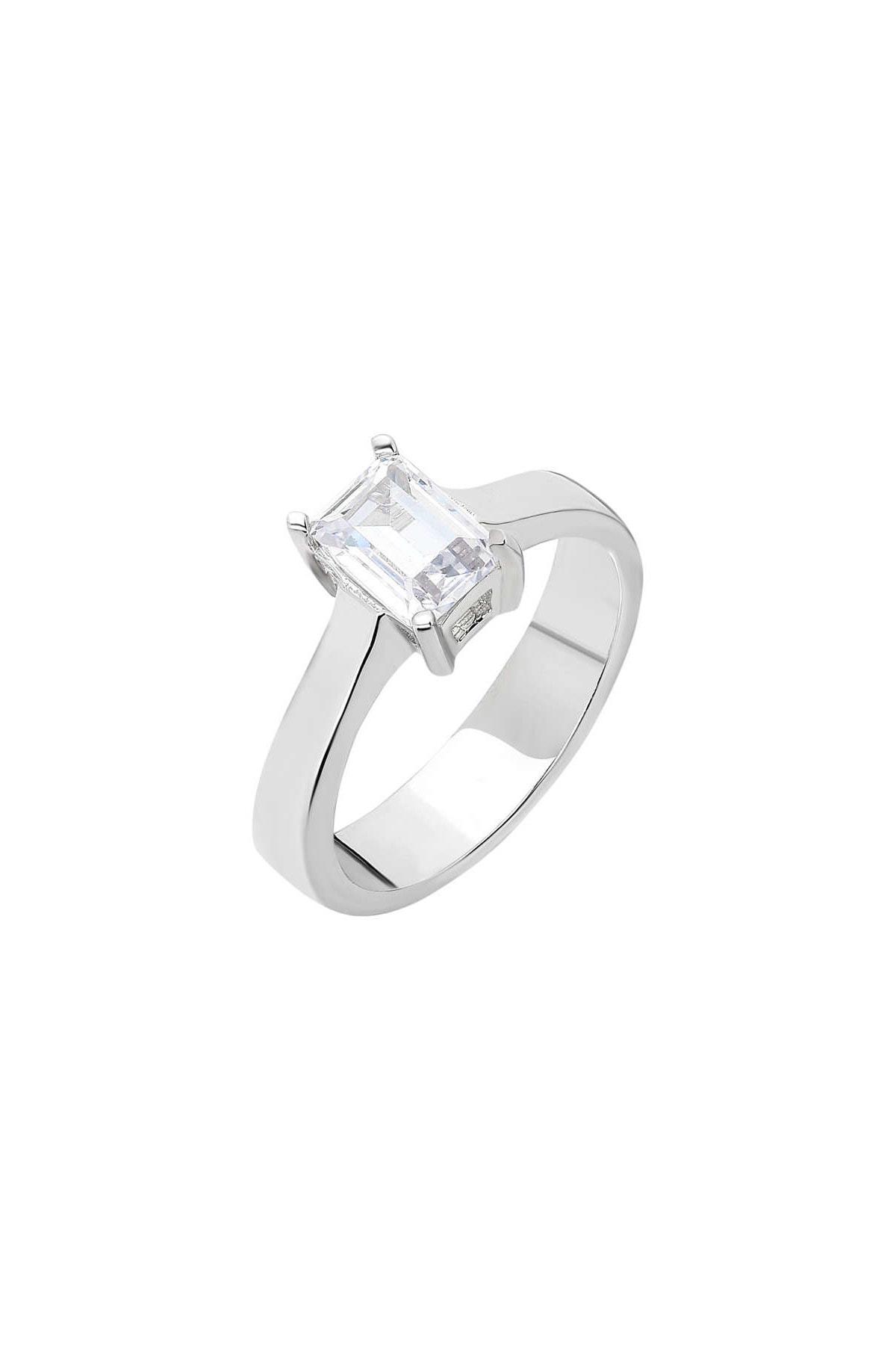 Tesbihane Starlight Diamond Pırlanta Montür Minimal Tasarım 925 Ayar Gümüş Bayan Baget Yüzük 102001792 3