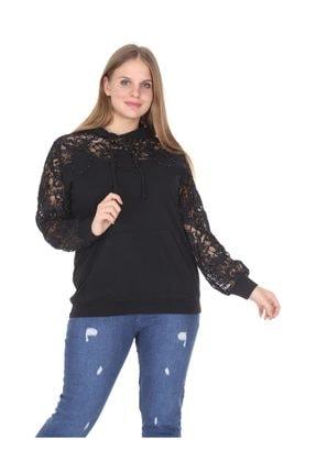 Kadın Büyük Beden Kapşonlu Kol Dantel Bluz Siyah resmi