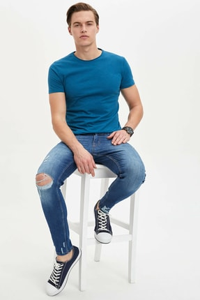 Defacto Erkek Yeşil Basic Slim Fit T-Shirt 1