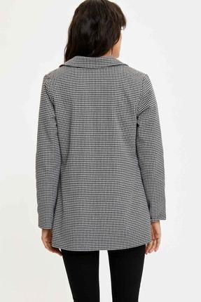 Defacto Kadın Siyah Ekose Blazer Ceket M8794AZ.20SP.BK27 4