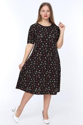Alesia Kadın Siyah Çiçek Desenli Kısa Kol Krep Elbise MHMT2020-310 0
