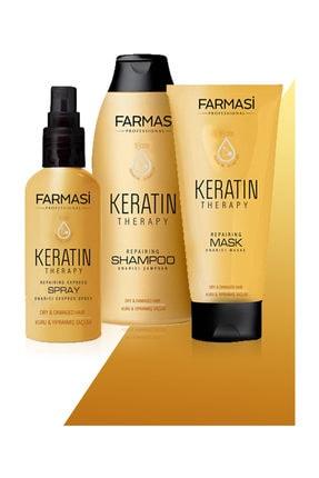 Farmasi Keratin 3'lü Bakım Seti Şampuan+sprey+maske 0