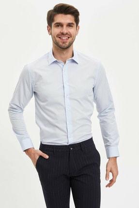 Defacto Erkek Mavi Basic Slim Fit Gömlek 0