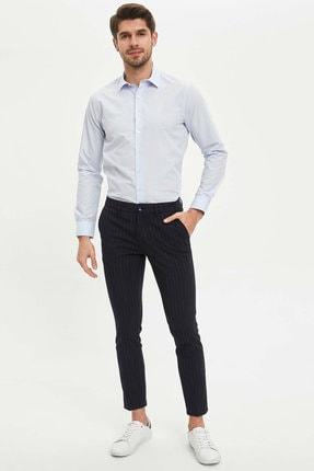 Defacto Erkek Mavi Basic Slim Fit Gömlek 1