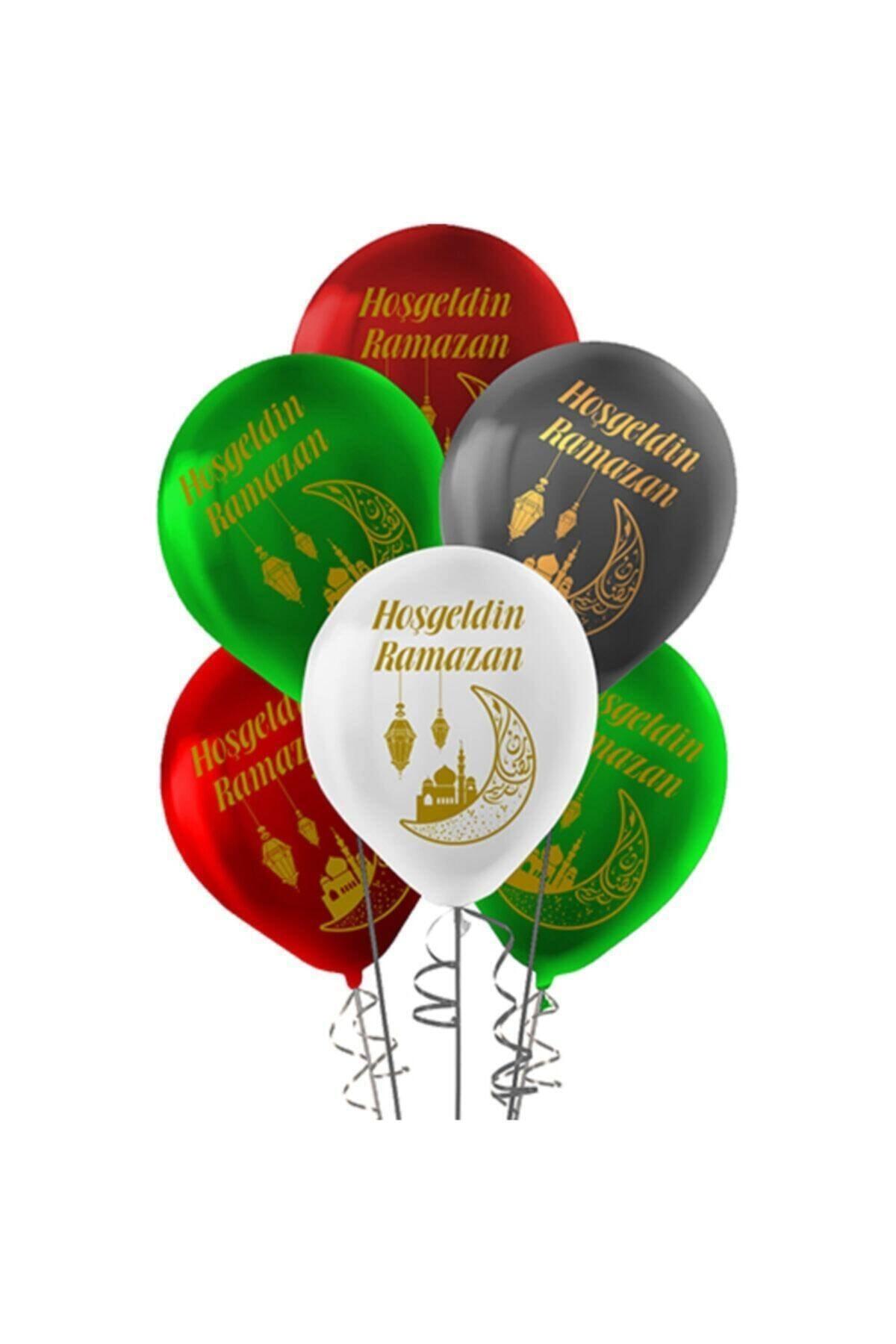 Hoşgeldin Ramazan Baskılı 10 Adet Balon Dini Islami Bayram Süsü Beyaz Yeşil Siyah Bordo Renkli