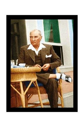 mağazacım Atatürk Sandalyesinde Otururken 50 Cm X 70 Cm Kanvas Tablo Tbl1219 2