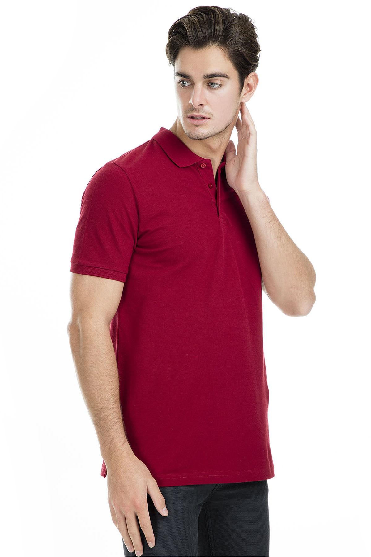 Sabri Özel Erkek Bordo Polo Yaka T-Shirt - T446688 3