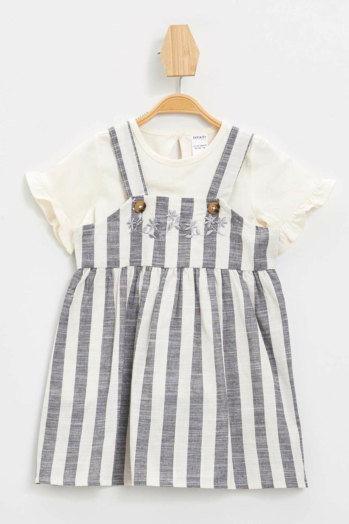 Kız Bebek Simli Nakış Baskılı Tişört Elbise Takım