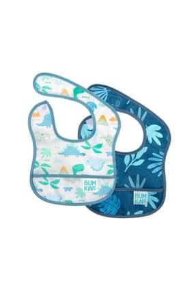 Bumkins Başlangıç Mama Önlüğü (3-6 Ay) 2li Paket - Dinasours Pack (dinosaurs & Blue Tropic) 0