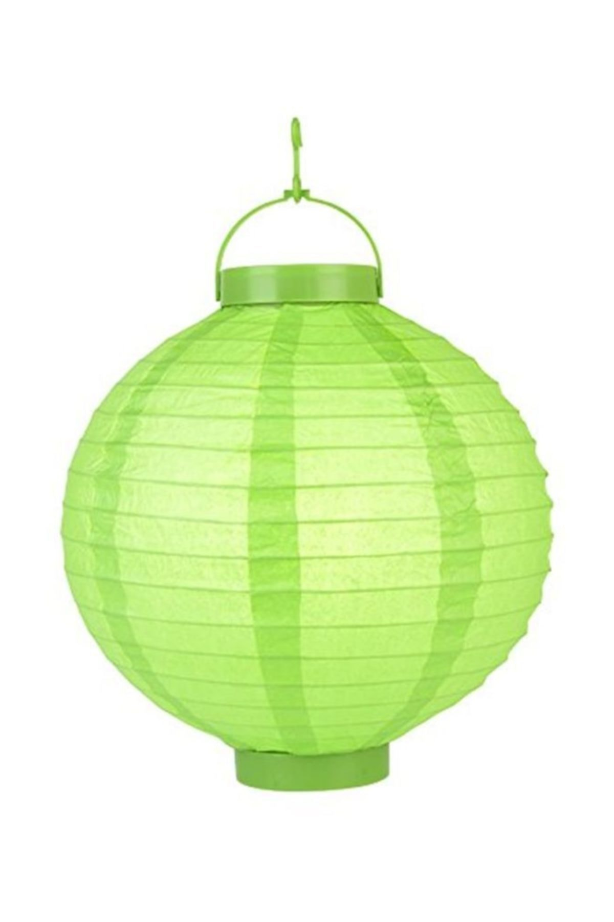 20 Cm Led Işıklı Kağıt Japon Feneri Yeşil Renk