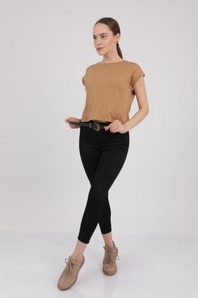 MD trend Kadın Sütlü Kahve Bisiklet Yaka Kısa Kol T-Shirt Mdt3286 2