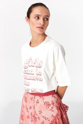 Twist Kadın Beyaz Payet İşlemeli Tshirt TS1200070080002 2