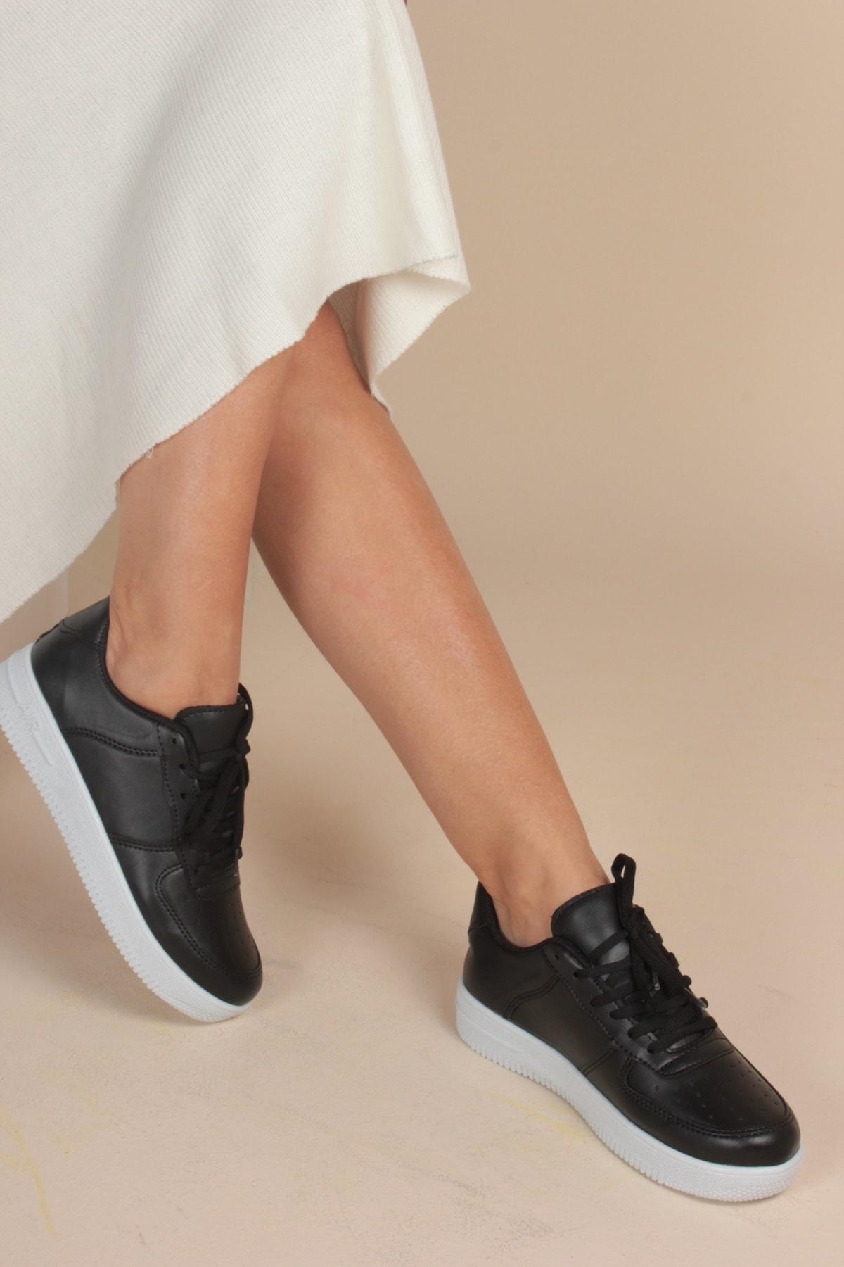Unisex Siyah&Beyaz Spor Ayakkabı&Sneaker INA100