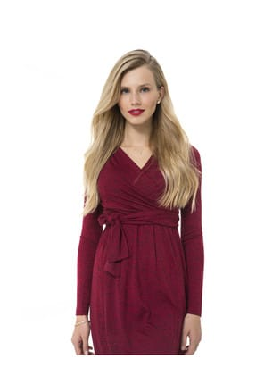 Accouchee Kırmızı-Siyah Emzirme Özellikli Hamile Elbisesi 2