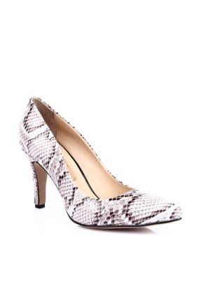Dgn Beyaz Yılan Kadın Klasik Topuklu Ayakkabı 200-148 0