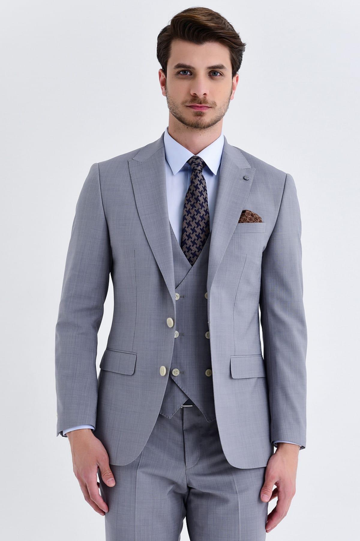 Hatemoğlu Yelekli Slim Fit Gri Takım Elbise 33201319C021